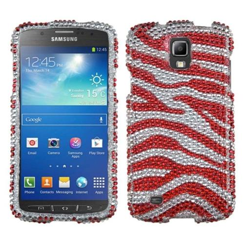 Insten Zebra Hard Bling Case For Samsung Galaxy S4 Active - Red/Silver