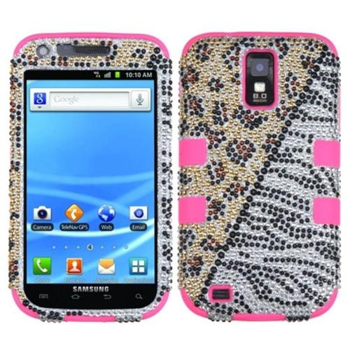 Insten Zebra/Leopard Hard Diamante Silicone Cover Case For Samsung Galaxy S2 Hercules T989 /Pink