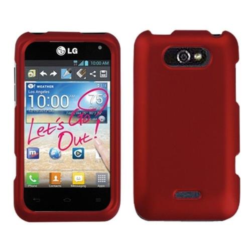 Insten Hard Rubber Coated Case For LG Motion MS770/Optimus Regard - Red
