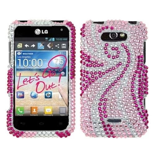 Insten Phoenix Tail Hard Diamond Cover Case For LG Motion MS770/Optimus Regard - Pink