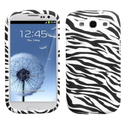 Insten Zebra TPU Case For Samsung Galaxy S3 - White/Black