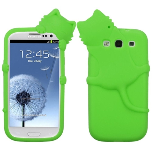 Insten Peeking Cat Rubber 3D Case For Samsung Galaxy S3 - Green
