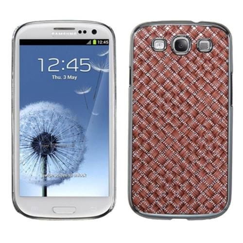 Insten Weave Hard Glitter Chrome Cover Case For Samsung Galaxy S3 - Brown/Silver