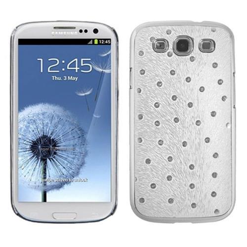 Insten Peacock Feather Hard Metallic Chrome Case For Samsung Galaxy S3 - White/Silver