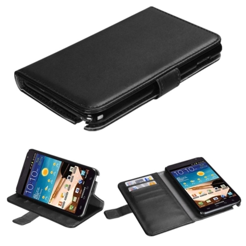 Insten Folio Leather Fabric Cover Case w/stand/card holder For Samsung Galaxy Note - Black