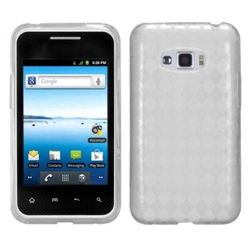 Insten Argyle Rubber Cover Case For LG Optimus Elite LS696/Optimus Elite VM696 - Clear