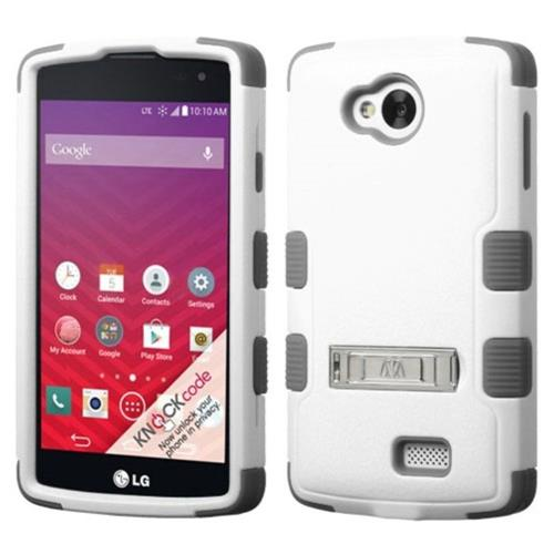 Insten Hard Dual Layer Rubber Coated Silicone Case w/stand For LG Optimus F60 - White/Gray