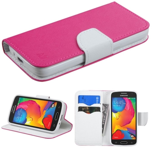 Insten Flip Leather Fabric Cover Case w/stand/card slot For Samsung Galaxy Avant - Hot Pink/White