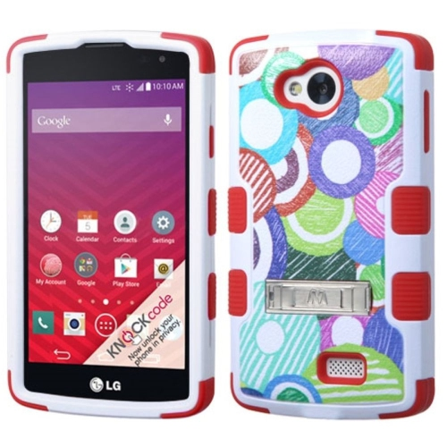 Insten Tuff Sketch Circle Hard Dual Layer Rubber Silicone Case w/stand For LG Optimus F60 - Colorful
