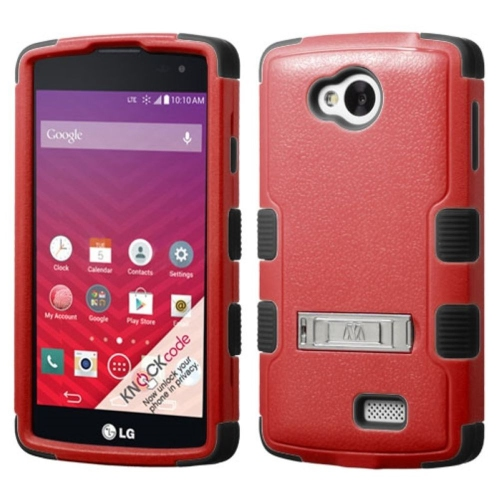 Insten Hard Dual Layer Silicone Case w/stand For LG Optimus F60 - Red/Black