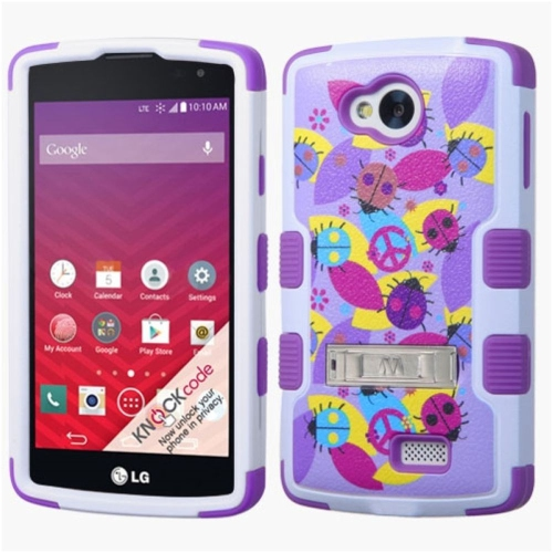 Insten Tuff Ladybugs Hard Hybrid Rubber Silicone Case w/stand For LG Optimus F60 - Purple