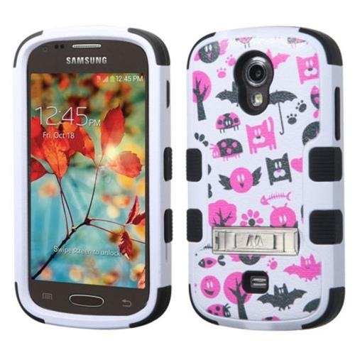 Insten Spooky Creatures Hybrid Rubber Silicone Case w/stand For Samsung Galaxy Light, White/Hot Pink