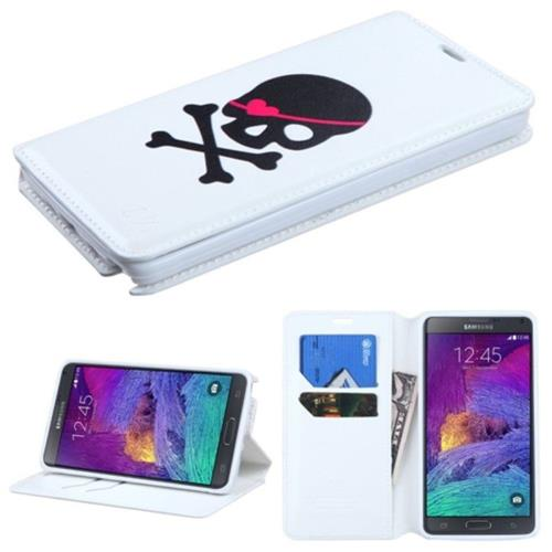Insten Skull Folio Leather Fabric Case w/stand/card slot For Samsung Galaxy Note 4, White/Black