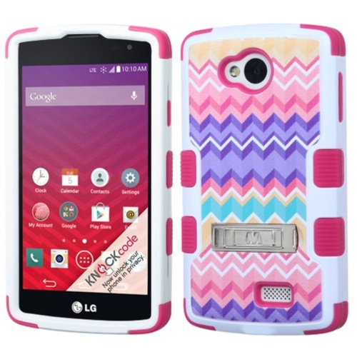 Insten Camo Wave Hard Dual Layer Rubber Coated Silicone Case w/stand For LG Optimus F60, Colorful