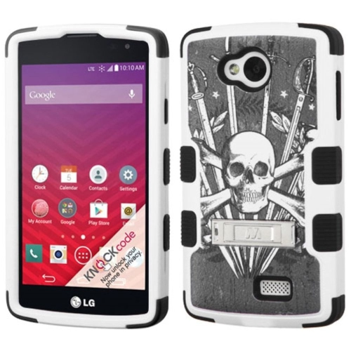 Insten Sword & Skull Hard Rubber Coated Silicone Case w/stand For LG Optimus F60, Gray/White