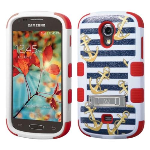 Insten Nautical Stripes Hard Hybrid Rubber Silicone Case w/stand For Samsung Galaxy Light, Colorful