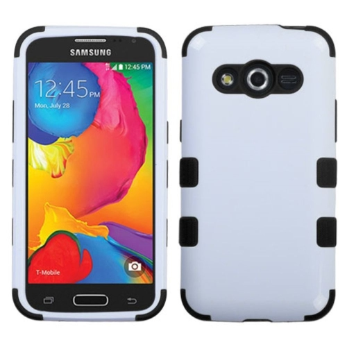 Insten Tuff Hard Hybrid Rubber Coated Silicone Cover Case For Samsung Galaxy Avant - White/Black