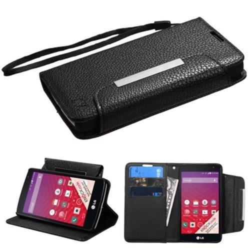 Insten Book-Style Leather Fabric Cover Case Lanyard w/stand/card holder For LG Optimus F60 - Black