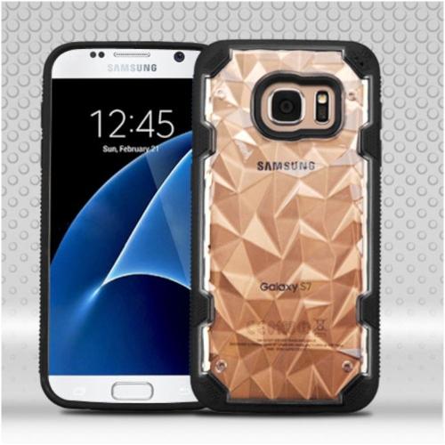 Insten Polygon Hard TPU Case For Samsung Galaxy S7 - Clear/Black