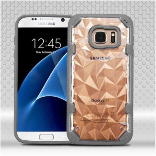 Insten Polygon Hard TPU Case For Samsung Galaxy S7 - Clear/Gray