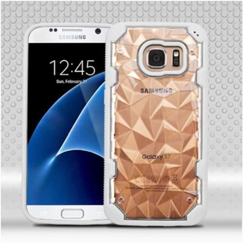 Insten Polygon Hard TPU Cover Case For Samsung Galaxy S7 - Clear/White