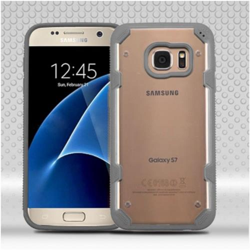 Insten Hard TPU Cover Case For Samsung Galaxy S7 - Clear/Gray