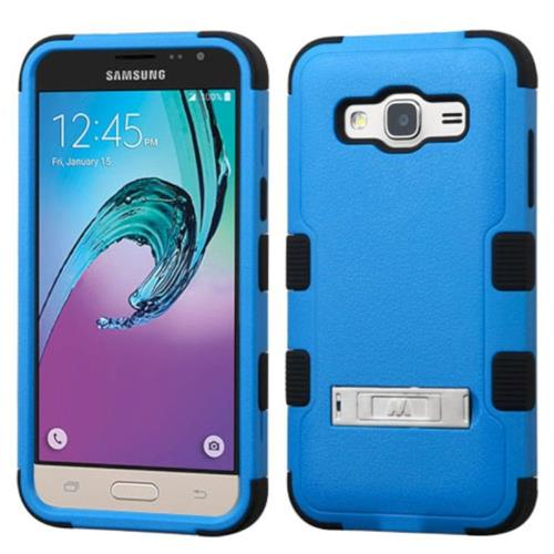 Insten Hard Hybrid Silicone Cover Case w/stand For Samsung Galaxy Amp Prime/J3 (2016) - Blue/Black