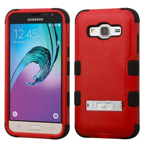 Insten Hard Hybrid Silicone Cover Case w/stand For Samsung Galaxy Amp Prime/J3 (2016) - Red/Black