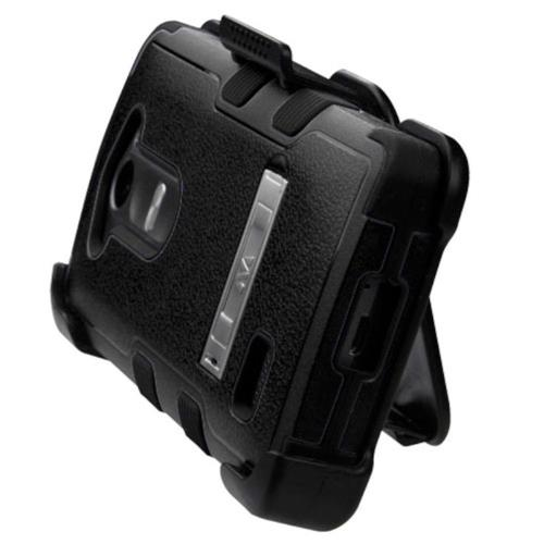 Insten Hard Dual Layer Rubber Silicone Case w/stand/Holster For LG Leon/Risio/Tribute 2 - Black
