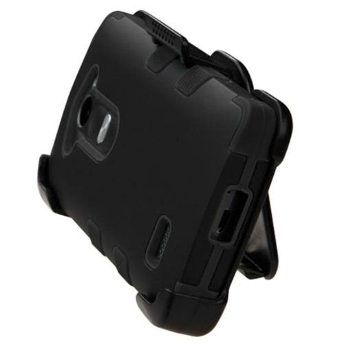 Insten Hard Hybrid Rubber Silicone Case w/Holster For LG Leon/Risio/Tribute 2 - Black