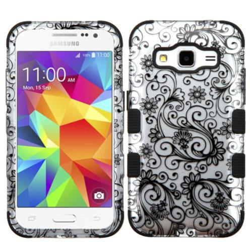 Insten Four-leaf Clover Hard Rubber Coated Cover Case For Samsung Galaxy Core Prime, Black/White