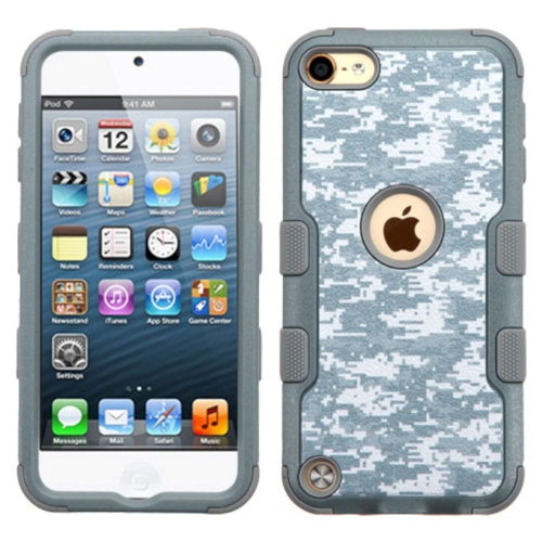 Insten Camouflage Hard Hybrid Rubber Silicone Case For Apple iPod Touch 5th Gen/6th Gen, Gray/White