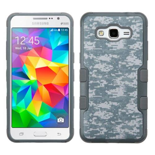 Insten Tuff Camouflage Hard Dual Layer Silicone Case For Samsung Galaxy Grand Prime - Gray/White