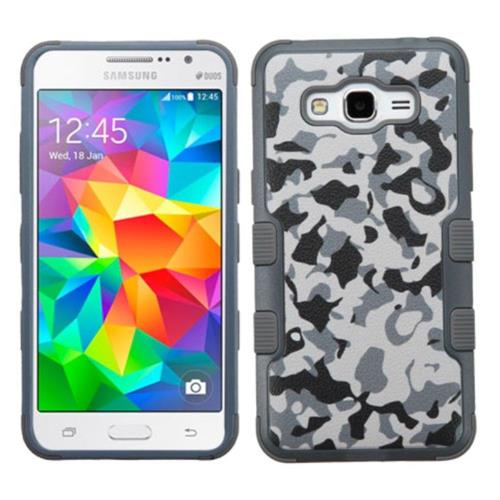 Insten Camouflage Hard Rubber Silicone Cover Case For Samsung Galaxy Grand Prime, Gray/White
