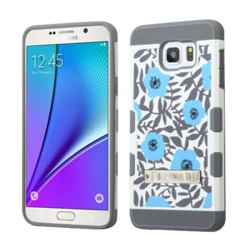 Insten Flowers Hard TPU Case w/stand For Samsung Galaxy Note 5 - Blue/White