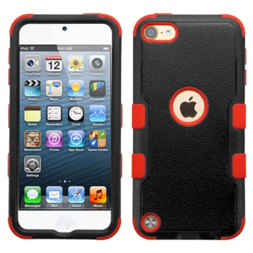 Insten Tuff Hard Hybrid Silicone Cover Case For Apple iPod Touch 5th Gen/6th Gen - Black/Red