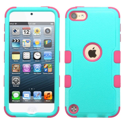 Insten Tuff Hard Dual Layer Silicone Cover Case For Apple iPod Touch 5th Gen/6th Gen - Teal/Hot Pink