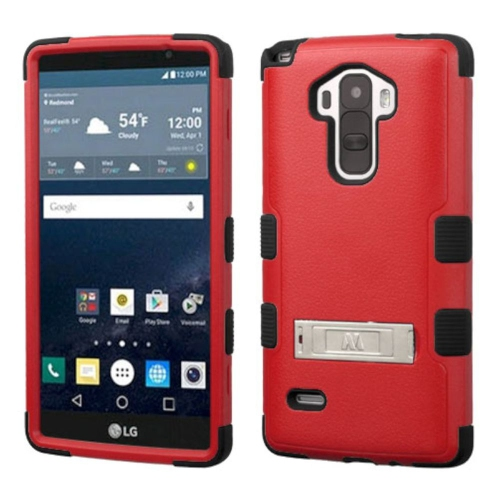 Insten Hard Hybrid Rubber Coated Silicone Case w/stand For LG G Stylo LS770 - Red/Black