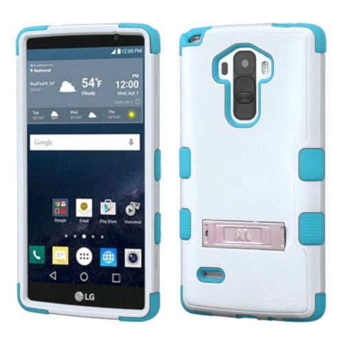 Insten Hard Dual Layer Rubber Coated Silicone Cover Case w/stand For LG G Stylo LS770 - White/Teal