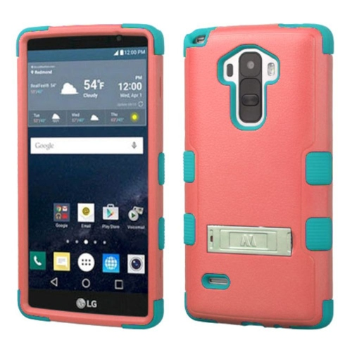 Insten Hard Dual Layer Rubberized Silicone Case w/stand For LG G Stylo LS770 - Red/Teal