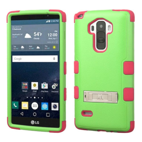 Insten Hard Rubber Coated Silicone Cover Case w/stand For LG G Stylo LS770, Green/Hot Pink