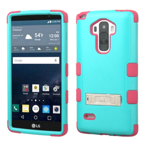 Insten Hard Hybrid Silicone Case w/stand For LG G Stylo LS770 - Teal/Hot Pink
