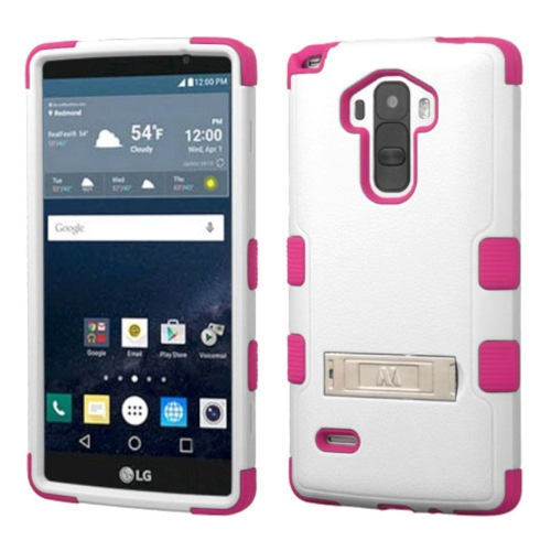 Insten Hard Hybrid Silicone Case w/stand For LG G Stylo LS770 - White/Hot Pink