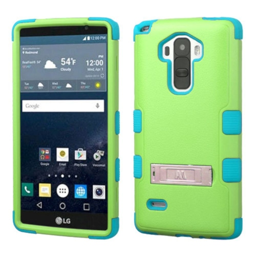 Insten Hard Hybrid Rubber Silicone Cover Case w/stand For LG G Stylo LS770 - Green/Blue