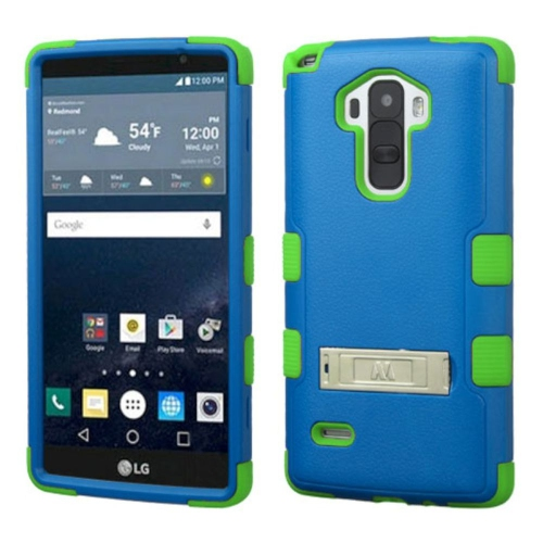 Insten Hard Dual Layer Rubber Coated Silicone Case w/stand For LG G Stylo LS770 - Blue/Green