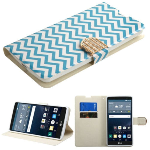 Insten Wave Flip Leather Fabric Case w/stand/card holder/Diamond For LG G Stylo LS770, Blue/White