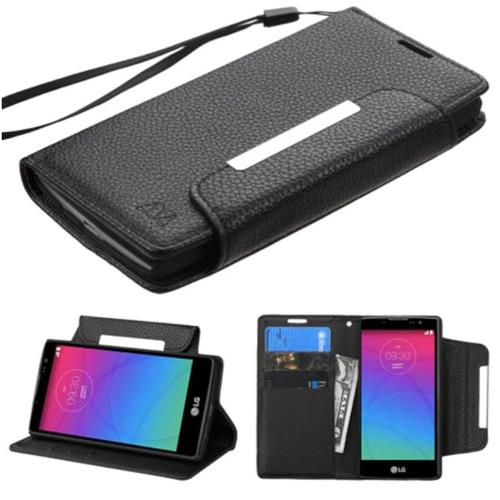 Insten Leather Fabric Case Lanyard w/stand/card slot For LG Escape 2/Logos/Spirit 4G, Black