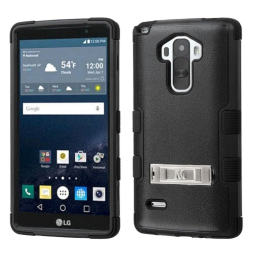 Insten Hard Dual Layer Rubber Coated Silicone Case w/stand For LG G Stylo LS770 - Black