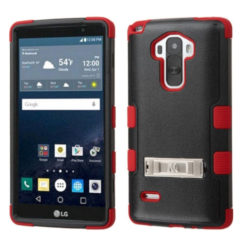 Insten Hard Hybrid Rubber Coated Silicone Cover Case w/stand For LG G Stylo LS770 - Black/Red