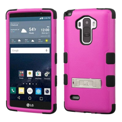 Insten Hard Dual Layer Silicone Case w/stand For LG G Stylo LS770 - Hot Pink/Black